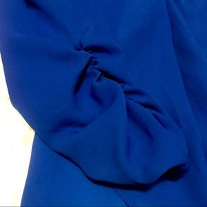 Royal Blue Sheer Blazer Jacket | Ruched 3/4 Sleeve